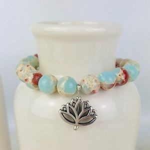 Lotus Sea Sediment Jasper Beaded Bracelet-987